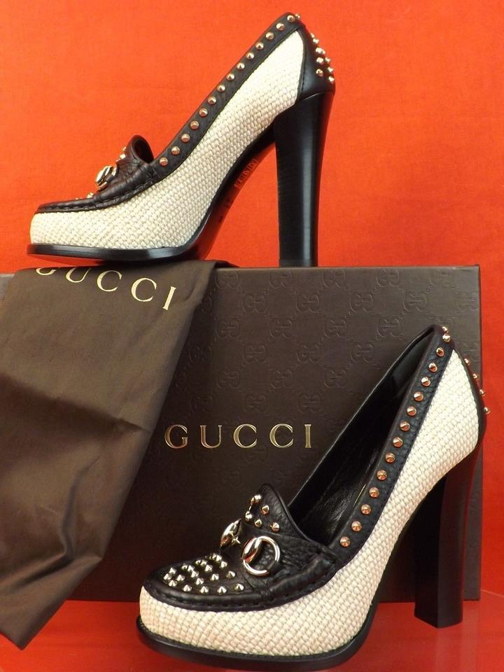 d7750c1c2f8 Gucci White Black Horsebit Alyssa Two Tone Straw Leather Studded Loafers  36.5 Pumps Size US 6.5 Regular (M