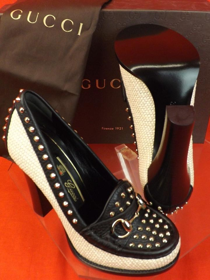 6669ca52073 Gucci White Black Horsebit Alyssa Two Tone Straw Leather Studded ...