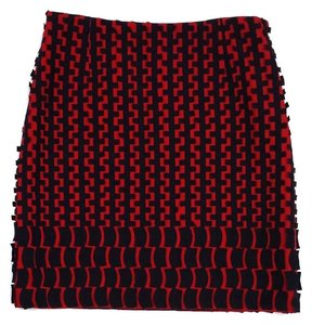 Other Red Black Print Wool Wool Skirt