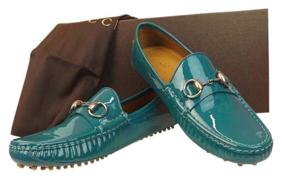 0fa41d29eb2 Gucci Dark Parrot Green Horsebit Teal Patent Leather Damo Silver Driver  Loafers 37 Flats