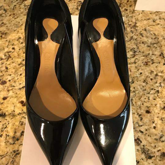Chloé Patent And Suede Black Pumps