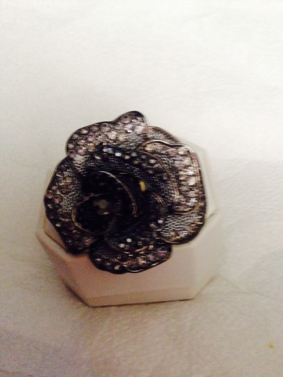 Not Rated Black & Clear Rhinestone Ring
