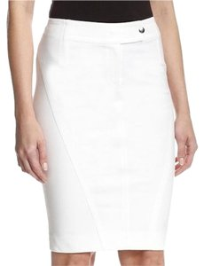 Byron Lars Beauty Mark Seaming Pencil Hooks Skirt Powder White
