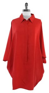 Max Mara Red Silk Short Sleeve Top