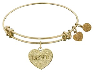 Angelica Goldtone Love with PAW Print Heart Adjustable Charm Bracelet Alex and Ani LIKE