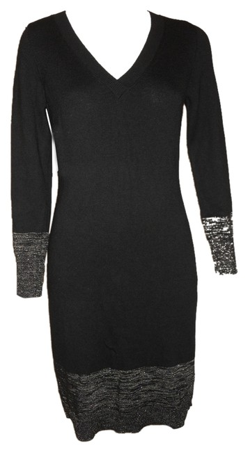 Preload https://img-static.tradesy.com/item/8968387/ann-taylor-black-and-silver-v-neck-sweater-knee-length-workoffice-dress-size-petite-4-s-0-1-650-650.jpg