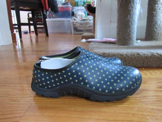 L.L.Bean blue with light green dots Mules