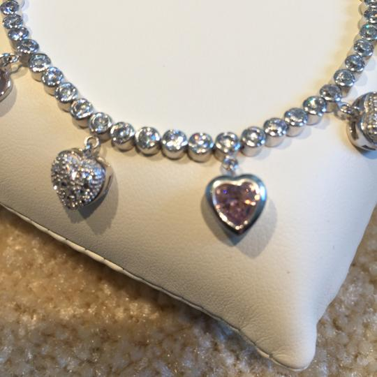 Other Silver, Pink and Clear CZ Bezel-Set and Pave Hearts Tennis Bracelet