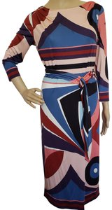 Emilio Pucci Longsleeve Monogram Gold Hardware Belted Sundress Dress