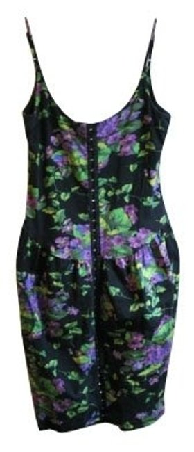Preload https://item3.tradesy.com/images/betsey-johnson-blackpurplegreen-floral-short-casual-dress-size-10-m-897-0-0.jpg?width=400&height=650