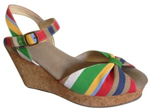 Natural Comfort Bright Colorful Cork Peep Toe Sandal Striped Summer Multi Wedges
