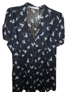 Kirra Butterfly Sheer Short Sleeve Button Down Shirt Black and Pink