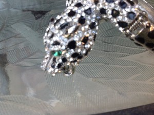 LARGE CRYSTAL ENCRUSTED LEOPARD BANGLE BRACELET