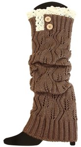 Brown Knitted Lace Top Button Accent Leg Warmer Boot Socks Boot Topper