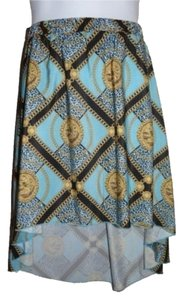 Kardashian Kollection Chain Print Skirt Turquoise/Blue