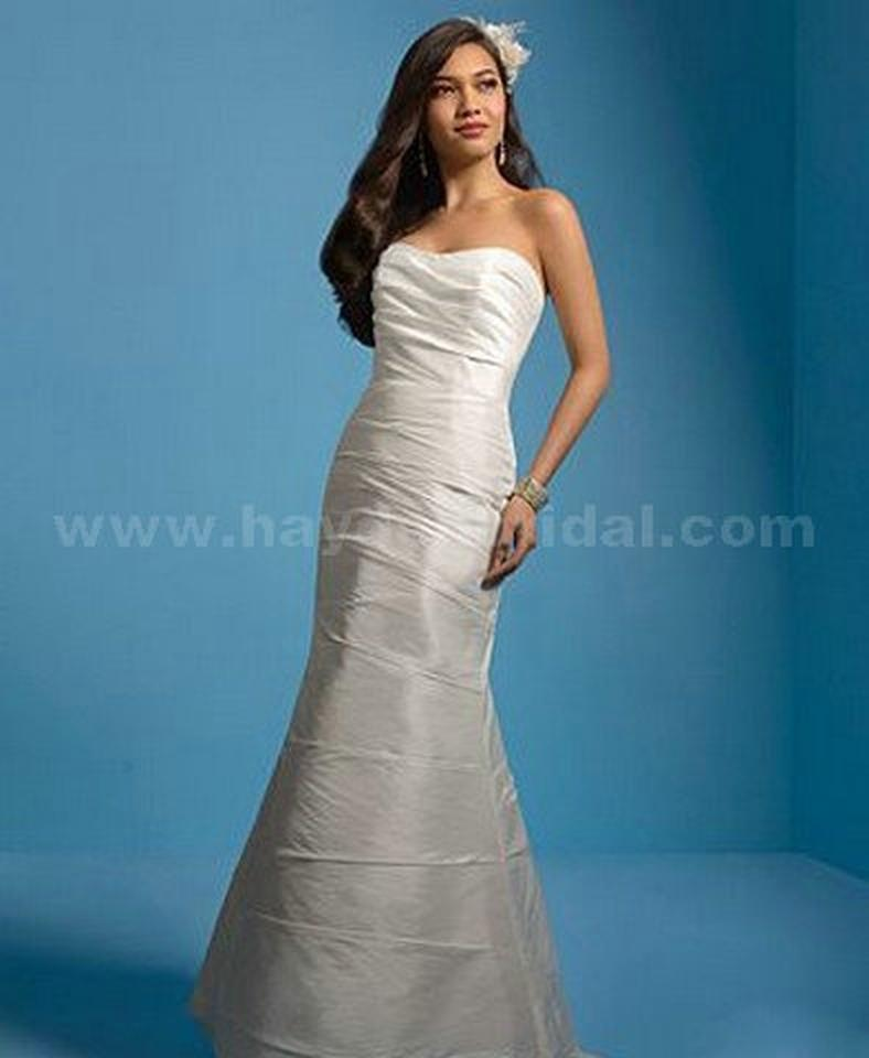 Alfred Angelo Diamond White Taffeta 2034 Wedding Dress Size 8 (M ...