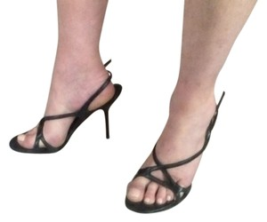 Narciso Rodriguez Leather Size 7 Size 8 Runway Strappy Black Sandals