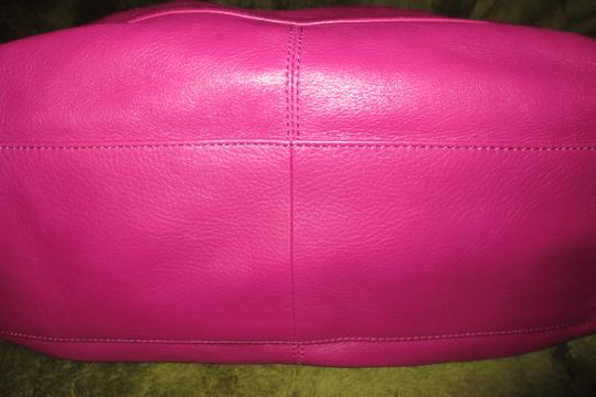 Audrey Brooke Hand Painted Leather Cross Full Grain Leather Artist Design Leather Satchel in Magenta-Pink