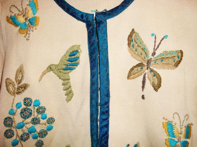 CoVelo Butterflies Hummingbird Butterfly Embellished Embroidered Spring Summer Silk Chanel Cardigan