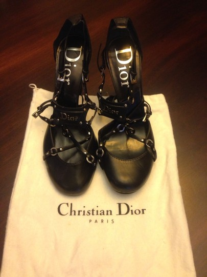 Dior Christian Leather High Heels Front Logo Black Pumps