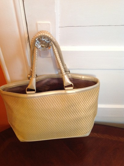 Cole Haan Braided Straps Hanging Gold-tone Tag Multiple Circle Designs On Front Tote in Tan