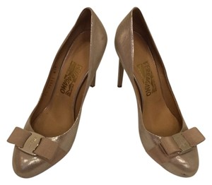 Ferragamo Gold Pumps
