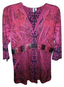 Madison Studio Beaded Size Xl Top Red, pink and black
