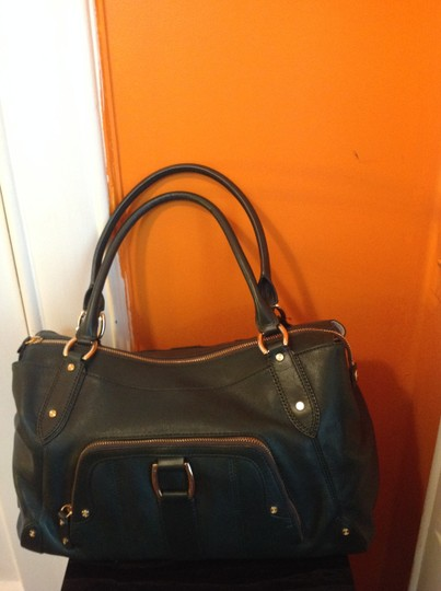 Cole Haan Three Compartments Extra Long Top Zipper Pull Side Details Flat Studs Detail Shoulder Bag