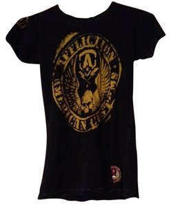 Affliction T Shirt Black/Yellows