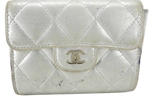 Chanel Chanel Classic Flap Silver Quilted Wallet CCWLM23