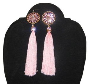 PINK RHINESTONE TASSEL EARRINGS