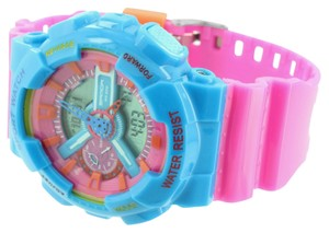 Shock Resistant Sport Watch Pink Baby Blue Unisex Analog-Digital Limited Edition