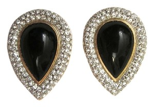 St. John St. John Couture Large Black Cabochon Swarovski Crystal Teardrop Clip Earrings -MINT!