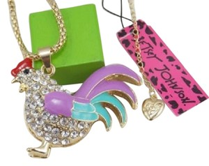 Betsey Johnson SALE - Betsey Johnson Light Blue Rooster Rhinestone Crystal Charm Necklace