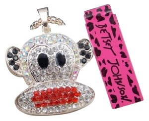Betsey Johnson SALE - Betsey Johnson Sock Monkey Rhinestone Crystal Charm Necklace