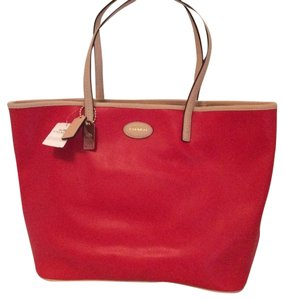 Coach Metro Leather Tote in Bright Red