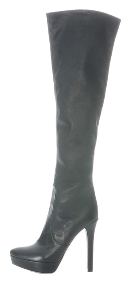 dc92a7d75456e Miu Miu Black Knee-high Leather Platform Boots/Booties Size US 9 ...