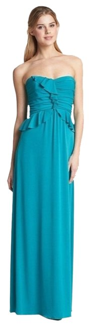 Turquoise Maxi Dress by Amsale Jersey Maxi Ruffle Sweetheart Gown