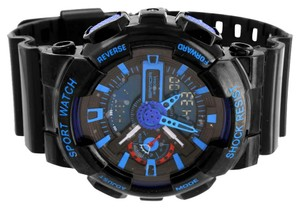 Other Shock Resistant Black And Blue Watch Round Unique Digital Analog Silicone Band