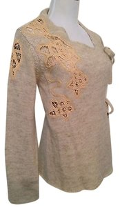Anthropologie Moth Frosted Panes Front Tie Sweater