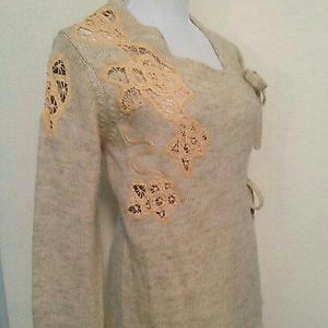 Anthropologie Moth Frosted Panes Front Tie Bows Cross Over Beige Sand Sweater