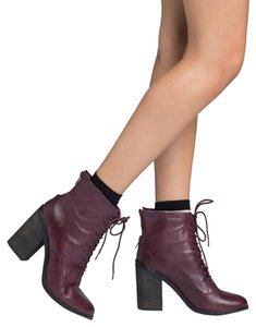 Shoemint Block Heel Zipper Lace-up Wine Boots