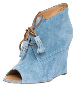 Dsquared2 Leather Suede Lace-up Blue Wedges