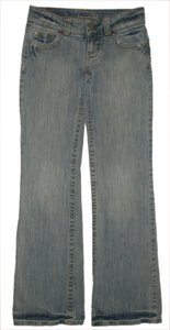 American Eagle Outfitters Zip Fly *low Rise *cotton/spandex *machine Washable *boot Leg Opening *back Flap Pockets *marking & Distressing Detail Boyfriend Cut Jeans-Light Wash