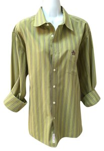 Penguin by Munsingwear Vintage Mens Xl Lounge Casual Button Down Shirt Green with purple yellow blue stripes