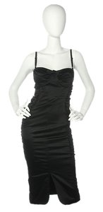 Dolce&Gabbana Bustier Black Ruched Dress