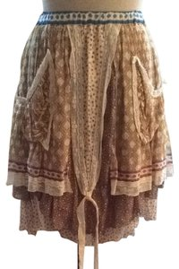 Bally Boho Bohemian Silk Skirt Brown