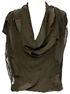 Robert Rodriguez Silk Cowl Neck Embellished Distressed Top Hunter Green