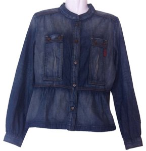 7 For All Mankind Stone Washed Mao Neckline Womens Jean Jacket