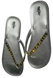 Mossimo Supply Co. Flip Flops Silver Flats